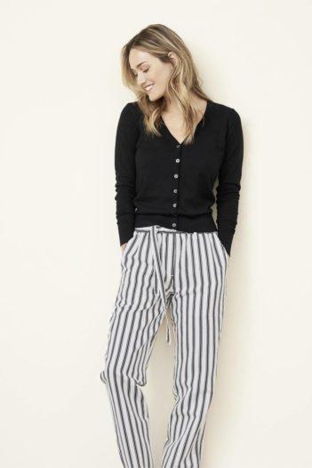 Lněné kalhoty Gill proužkované