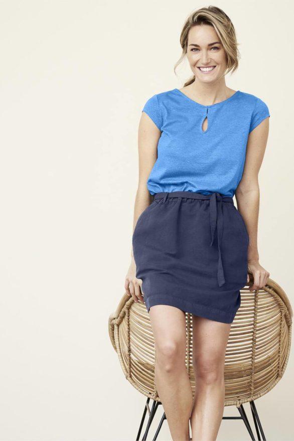 Lněná sukně Grace modrá