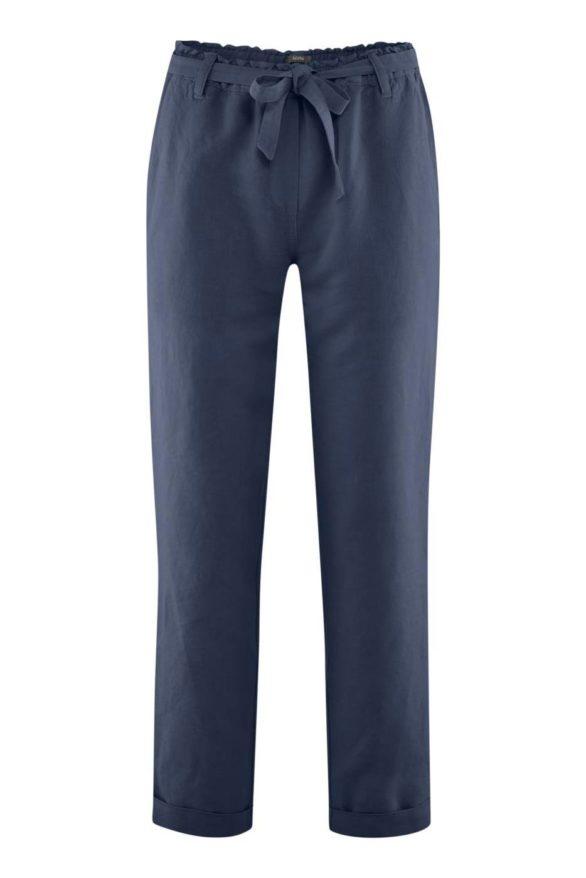 Lněné kalhoty Gill modré