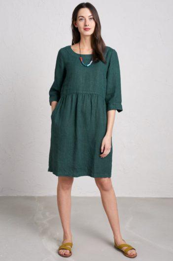 Lněné šaty Wild Orchid zelené