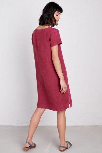Seasalt Cornwall lněné šaty okanum červené