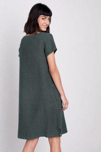 Seasalt lněné šaty okanum šedozelené