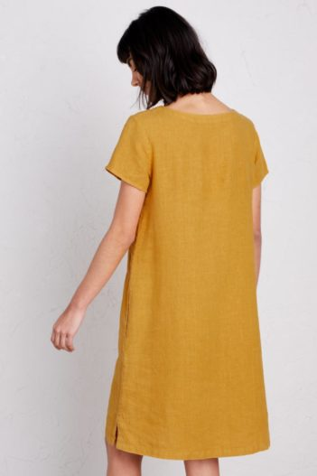 Seasalt Cornwall lněné šaty okanum žluté