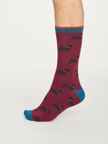 Thought bambusové ponožky hound červené