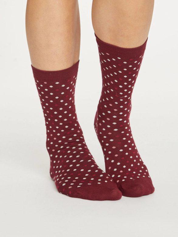 Thought bambusové ponožky spotty červené