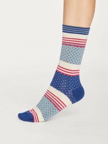 Thought bambusové ponožky dotty stripe modré
