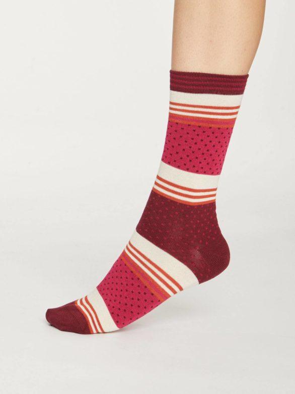Thought bambusové ponožky dotty stripe růžové