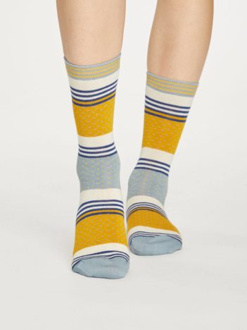 Thought bambusové ponožky dotty stripe žluto šedé