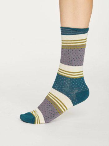 Thought bambusové ponožky dotty stripe šedo zelené