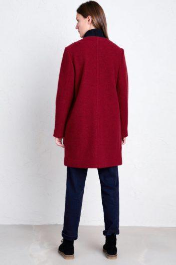 Seasalt Cornwall vlněný kabát charcoal burner červený