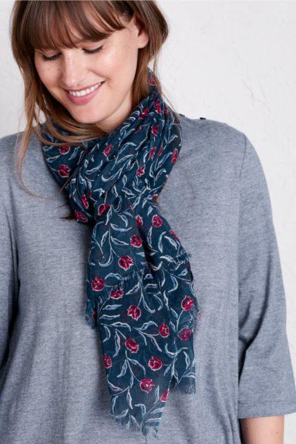 Seasalt Cornwall vlněný šátek s hedvábím garden tulip