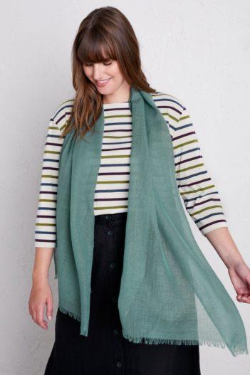 Seasalt Cornwall vlněný šátek s hedvábím šedozelený