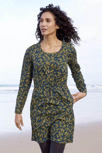 Nomads tunikové šaty batik leaf okrové