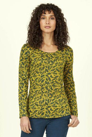 Nomads top batik leaf z bio bavlny žlutý