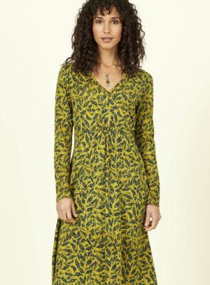 Nomads Šaty batik leaf z bio bavlny žluté