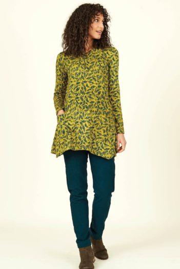 Nomads tunika batik leaf žlutá