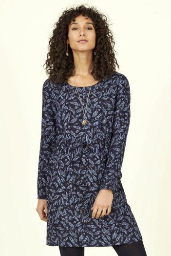 Nomads tunikové šaty batik leaf modré