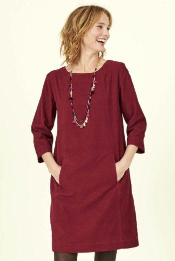 Nomads manšestrové tunikové šaty červené