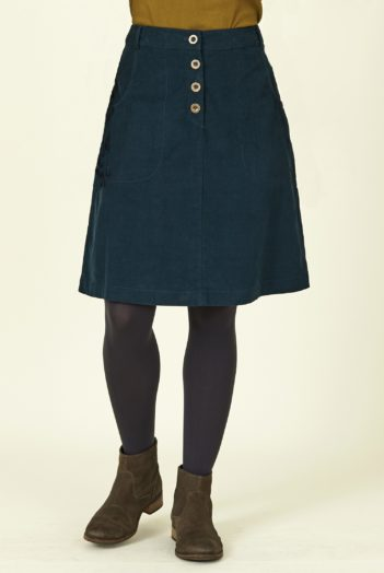Nomads manšestrová sukně s knoflíky modrá