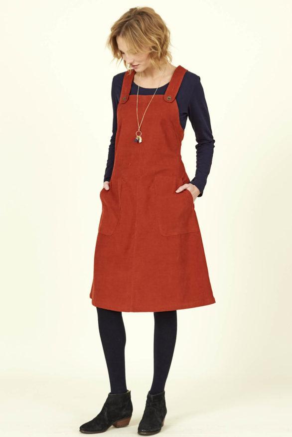 Nomads manšestrové šaty s laclem oranžové