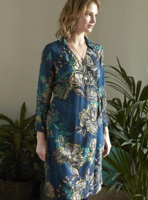 Nomads zavinovací šaty bold floral modré