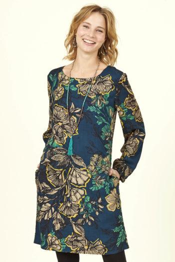 Nomads tunikové šaty bold floral z bio bavlny modré