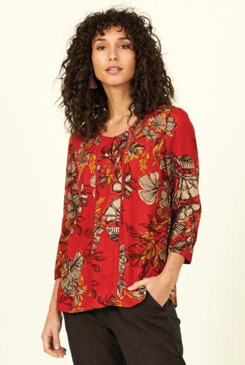Nomads top bold floral s řasením červený