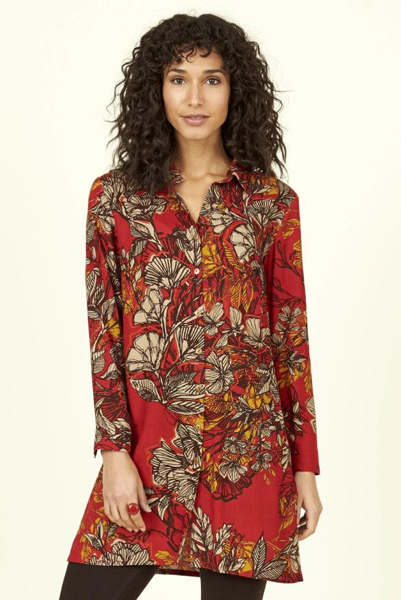 Nomads tuniková košile bold floral červená