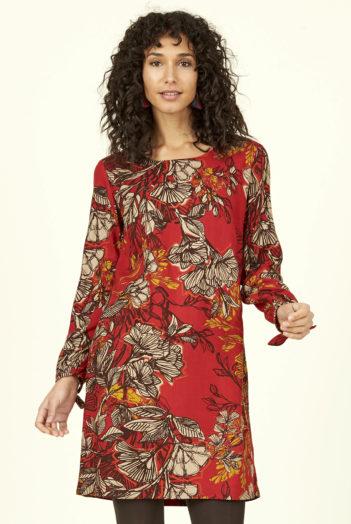 Nomads tunikové šaty bold floral z bio bavlny červené