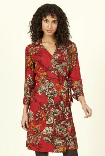 Nomads zavinovací šaty bold floral červené