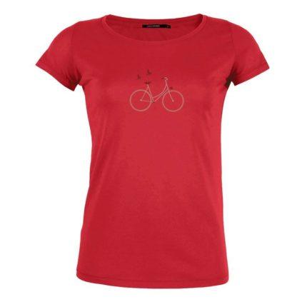 Greenbomb top z bio bavlny bike birds červený
