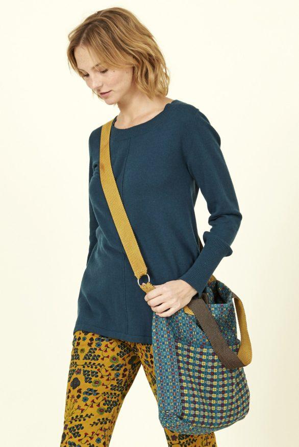 Nomads kabelka z ručně tkané bavlny modrá