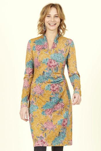 Nomads Řasené šaty hydrangea horčicové