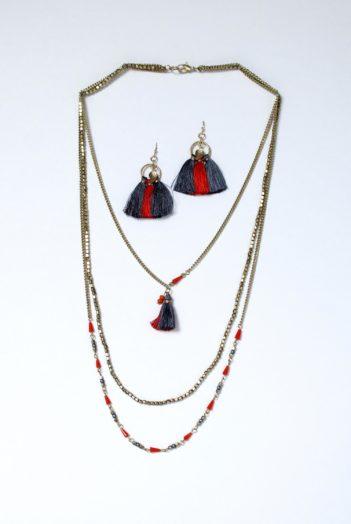Nomads trojitý náhrdelník se střapcem