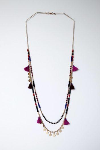 Nomads náhrdelník se střapci růžový