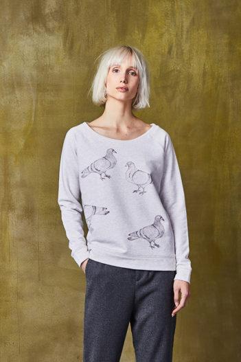 Paala mikina city birds šedá