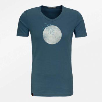 Greenbomb tričko z bio bavlny birds moon modré