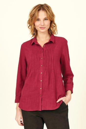 Nomads košile s nabíráním červená