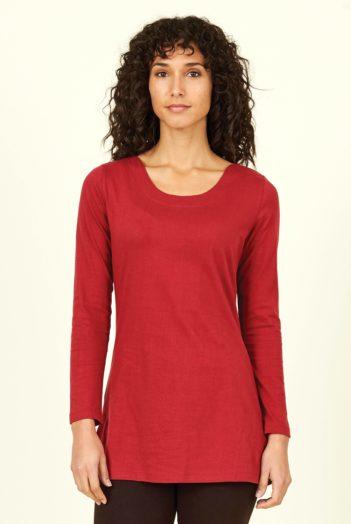 Nomads prodloužený top z bio bavlny červený