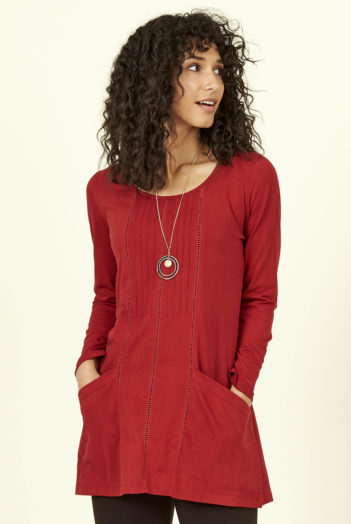 Nomads tunika s kapsami z bio bavlny červená