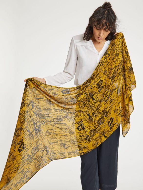 Thought bambusový šátek woodlands žlutý