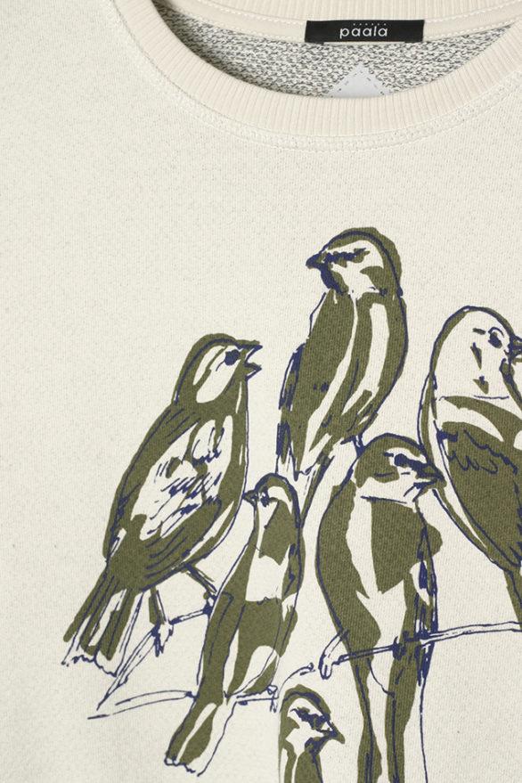Paala mikina bird bunch bílá