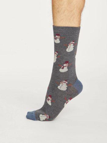 Thought pánské bambusové ponožky snowman šedé
