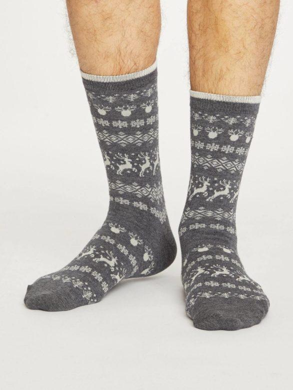 Thought pánské bambusové ponožky reindeer šedé