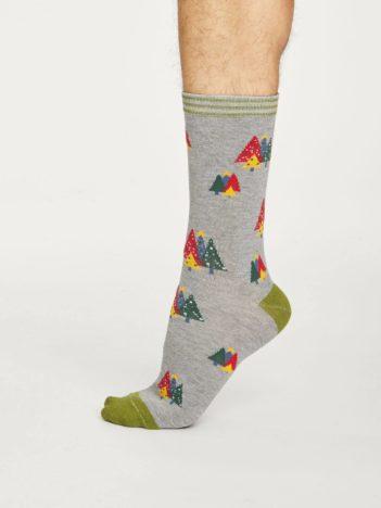 Thought pánské bambusové ponožky christmas tree šedé