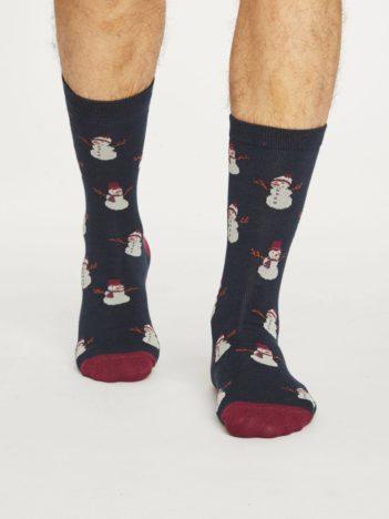 Thought pánské bambusové ponožky snowman modré