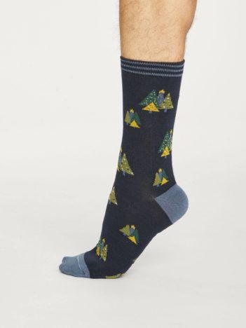 Thought pánské bambusové ponožky christmas tree modré