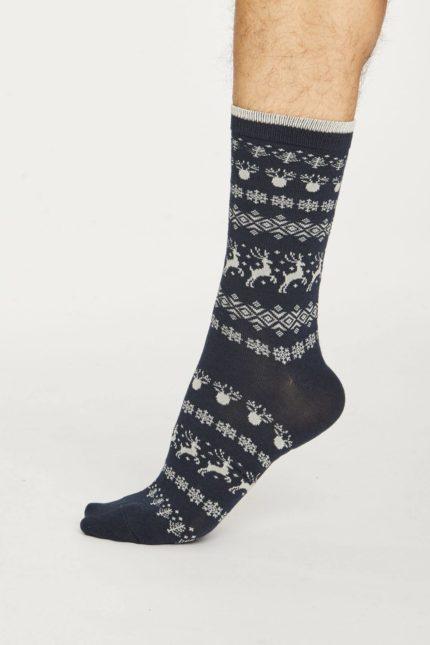 Thought pánské bambusové ponožky reindeer modré