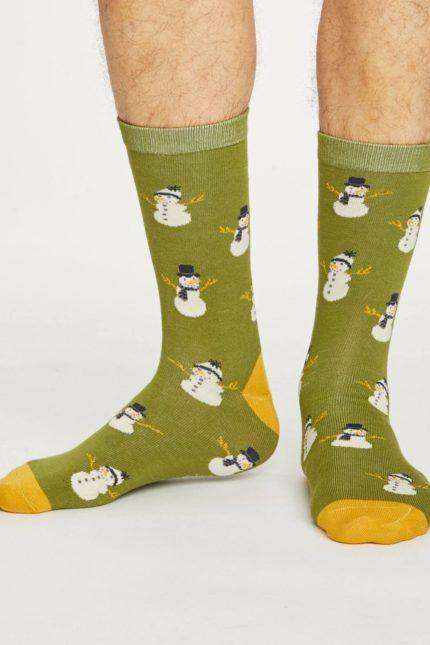 Thought pánské bambusové ponožky snowman zelené