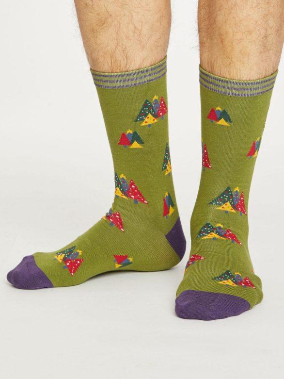 Thought pánské bambusové ponožky christmas tree zelené